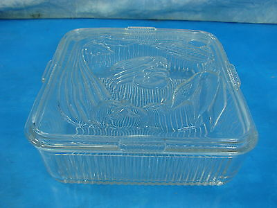 """50's FEDERAL GLASS 8.5"""" Square Refrigerator Dish Ribbed w Vegetable Embossed Lid"""
