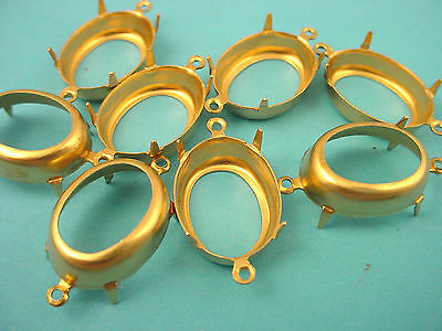 Brass Oval Prong Settings 18x13 2 Ring open Backs  connectors- 18 Pieces