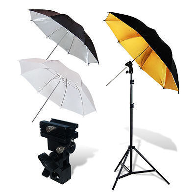"Lusana Studio Video Lighting Kit Flash Mount Umbrella Kit + 86"" Light Stand"