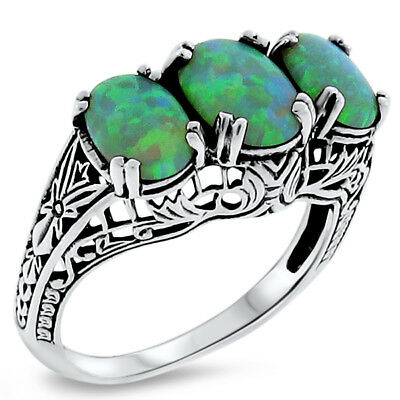 ANTIQUE ART DECO STYLE GREEN LAB FIRE OPAL 925 STERLING SILVER RING Sz 6.75,#268