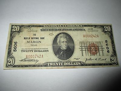 $20 1929 Marlin Texas TX National Currency Bank Note Bill! Ch. #5606 Fine RARE