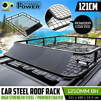 Universal Steel Roof Rack Powder Coated Basket Mesh Luggage Carrier 1.23m BLACK