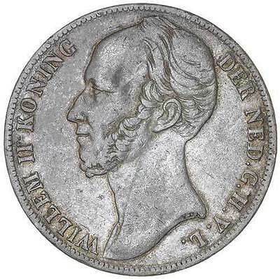 1845 Netherlands Gulden KM# 66 Silver Gulden  Dash Between Crown & Shield - RARE