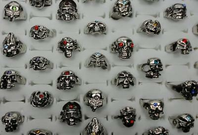 25pcs Alloy Skull Rhinestone Rings Wholesale Ancient Silver Wholesale Jewelry BF