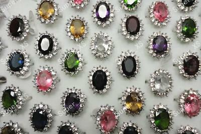 20pcs crystal Zircon silver plated rings wholesale jewelry lots free shipping