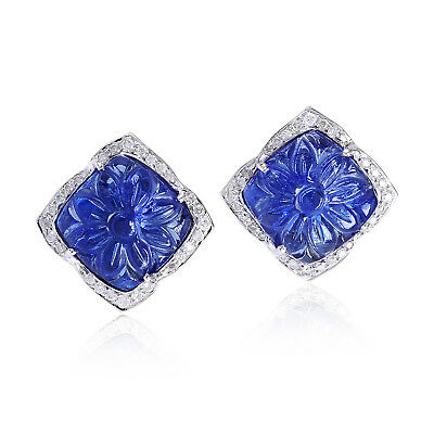 18K Solid White Gold Stud Earrings Carved Tanzanite Pave Diamond Fashion Jewelry