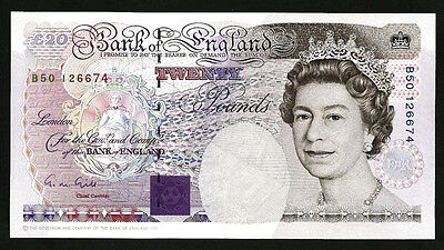 GREAT BRITAIN , ENGLAND 20 POUND 1991 1993 AU P 384a SIGN : GILL