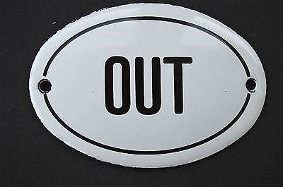 Vintage style classic small OUT door plaque enamel metal door sign