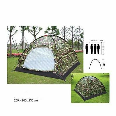 3-4 Person Outdoor Festival Camping Hiking Folding Tent Waterproof Camouflage