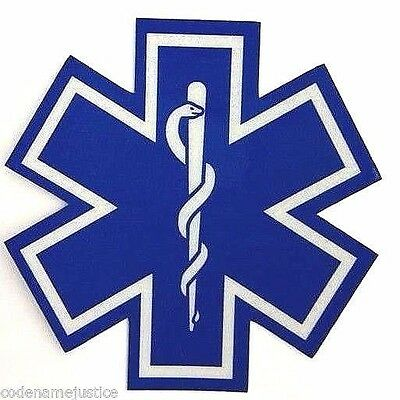 "STAR OF LIFE DECAL - EMS EMT PARAMEDIC 1"" x 1"" Highly REFLECTIVE Decal"