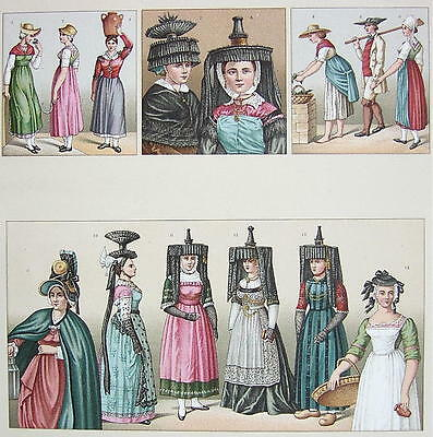 COSTUME French Women 1880s Headdress - SUPERB Color Antique Print by A. Racinet