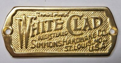 Cast Brass White Clad Ice Box Nameplate -antique vintage furniture repair