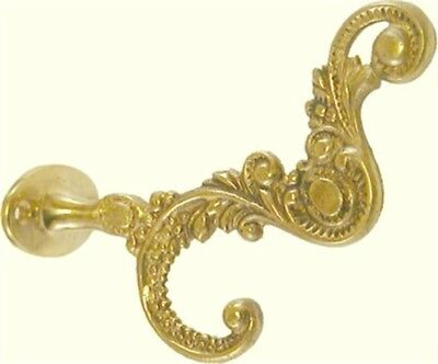 Cast Brass Victorian Style Front Mount Coat Hook jacket rack hat clothes