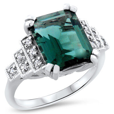 .925 Sterling Silver Sim Emerald Antique Art Deco Style Ring Size 9,  #730