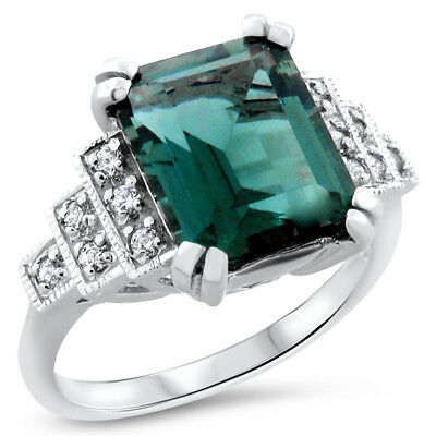 .925 Sterling Silver Sim Emerald Antique Art Deco Style Ring Size 6,  #730