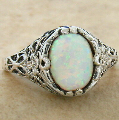 Vintage Victorian Style .925 Sterling White Lab Opal Silver Ring Size 6, #798