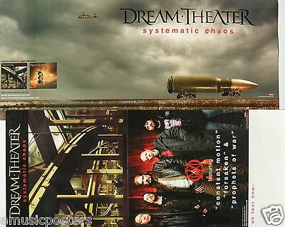 "DREAM THEATER ""SYSTEMATIC CHAOS"" 2-SIDED U.S. PROMO POSTER/ BANNER - Metal, Rock"