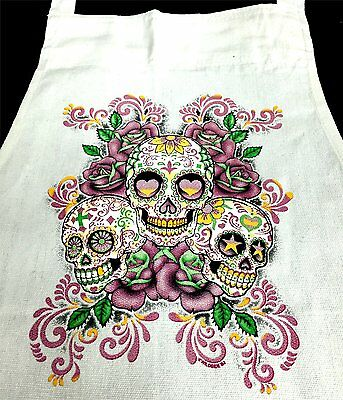 3 Sugar Skulls Floral Chef White Apron 100% Cotton Restaurant Kitchen APE-0009