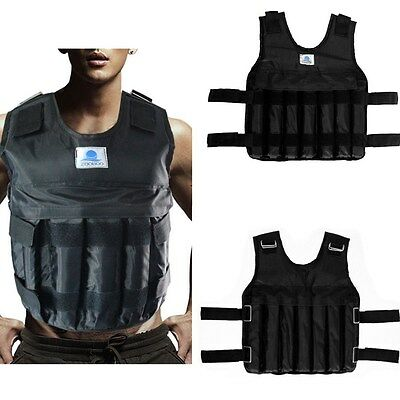 Adjustable 44lbs/20kg Weighted Vest Jacket Workout Training Fitness Mens Womens