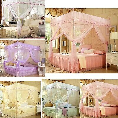 Gift ! Lace Flower Four Corner Post Bed Canopy Mosquito Netting Or Frame(Post)