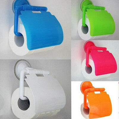 Sucker Cover Roll Paper Holder Bathroom Toilet Wall Mounted Tissue Plastic Box