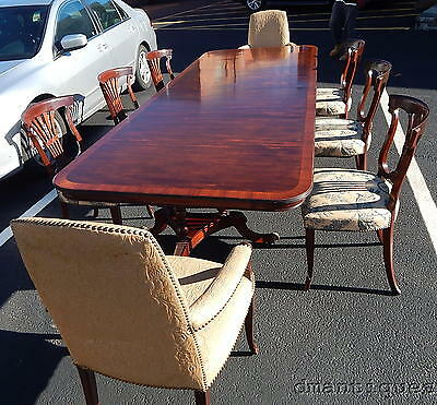 Outstanding Elegant 10' Banded Mahogany Dining Table & Set 8 Shield Back Chairs