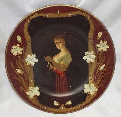 "Antique 10"" VIENNA ART Lady with Candle LINCOLN PAINTS Advertising PLATE"