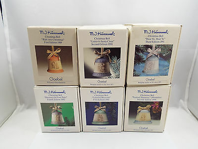Goebel Hummel Christmas Bells LOT of 6, 1989-1994, with boxes