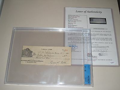 Ty Cobb Autographed 1930 Personal Check - Slabbed with JSA Letter MLB HOF Tyrus