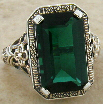 6 Ct. Sim Emerald Antique Design .925 Sterling Silver Ring Size 7,   #533