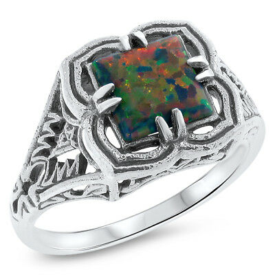 Black Lab Opal Stone Vintage Design Filigree 925 Stering Silver Ring Size 9,#729
