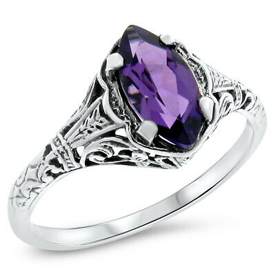 Antique Design .925 Sterling Purple Lab Amethyst Silver Ring Size 6.75,  #802