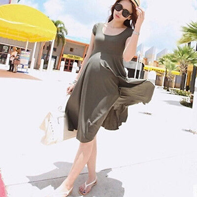 Women Swing Dress Casual Pregnant Dresses Short Sleeve Tops Maternity Clothes