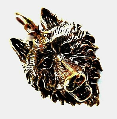 *bronze Lone Wolf - Wolf Head Pendant & Waxed Cord Necklace**