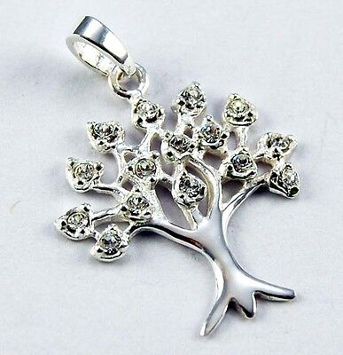**beautiful 925 Solid Silver Tree Of Life With Clear Crystals Pendant**