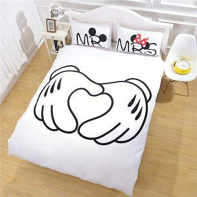 Disney Mickey Minnie Mouse Love Wedding Bedding Twin Full Queen Free Shipping