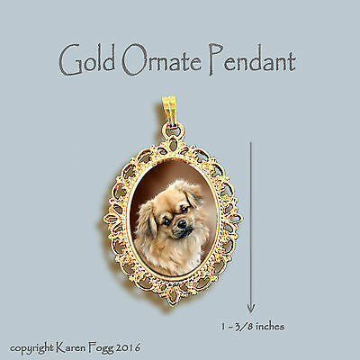 Tibetan Spaniel Dog - Ornate Gold Pendant Necklace