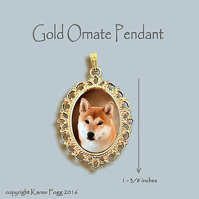 Shiba Inu Dog - Ornate Gold Pendant Necklace