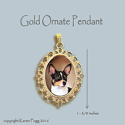 Rat Terrier Dog - Ornate Gold Pendant Necklace