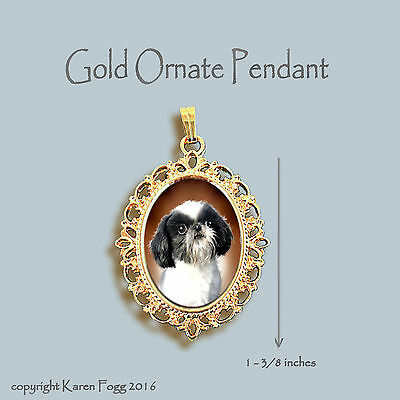 Japanese Chin / Shih Tzu Dog - Ornate Gold Pendant Necklace