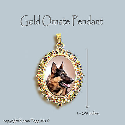 GERMAN SHEPARD DOG Brown Black - ORNATE GOLD PENDANT NECKLACE