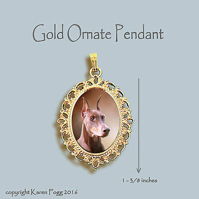 DOBERMAN PINSCHER DOG Red Crop Ears Dobie - ORNATE GOLD PENDANT NECKLACE