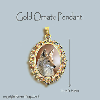 Coyote - Ornate Gold Pendant Necklace