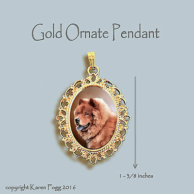 CHOW CHOW DOG Red - ORNATE GOLD PENDANT NECKLACE