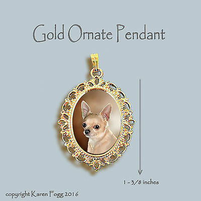 CHIHUAHUA DOG Smooth Fawn Adult - ORNATE GOLD PENDANT NECKLACE