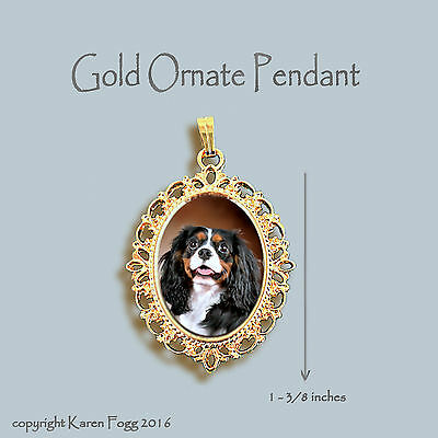 CAVALIER KING CHARLES SPANIEL Tri Color -  ORNATE GOLD PENDANT NECKLACE