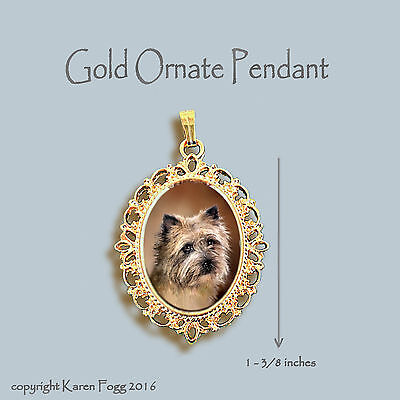Cairn Terrier Dog - Ornate Gold Pendant Necklace