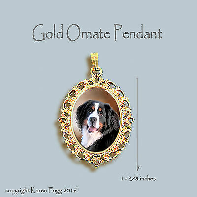 Bernese Mountain Dog - Ornate Gold Pendant Necklace