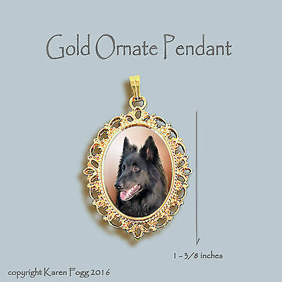 Belgian Sheepdog - Ornate Gold Pendant Necklace