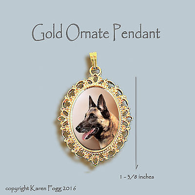 Belgian Malinois Dog - Ornate Gold Pendant Necklace